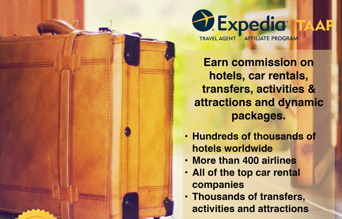 Expedia TAAP - Travel Agent Affiliate Program - Earn commission on hotels, car rentals, transfers, activities & attractions and dynamic packages. • Hundreds of thousands of hotels worldwide • More than 400 airlines • All of the top car rental companies • Thousands of transfers, activities and attractions